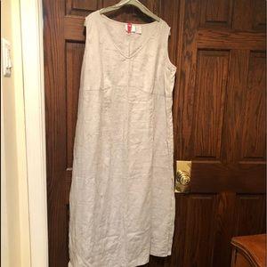 Elisabeth Claiborne 100% Linen Lite Gray Maxi